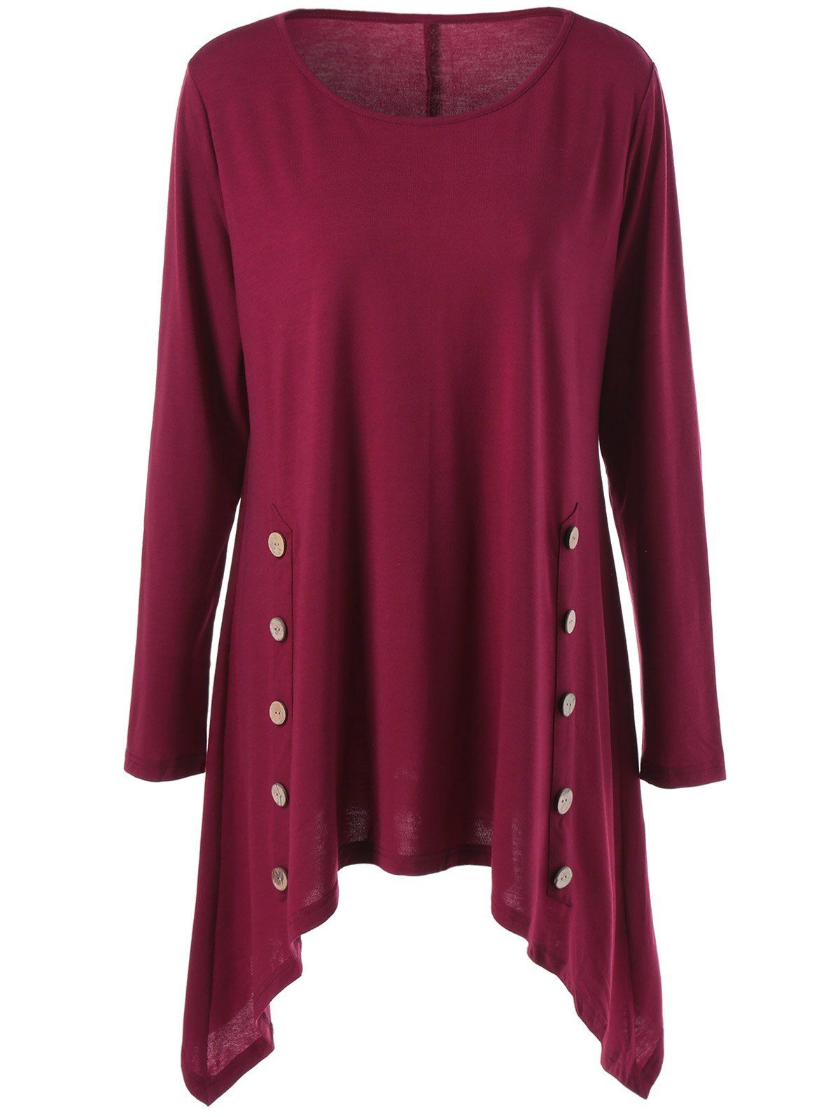 4b7a33d96ab8e Plus Size Double-Breasted Asymmetrical Tee in Wine Red