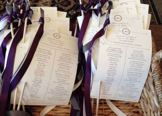 wedding ceremony programs with ribbon wand attached customized for