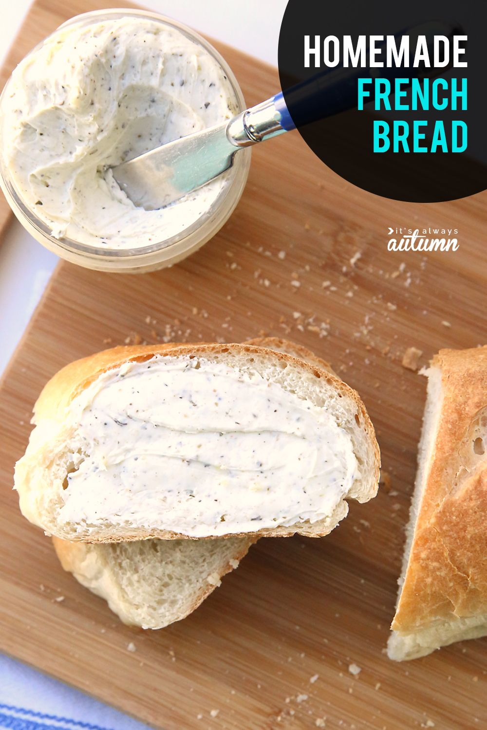 How to make homemade french bread! Click through for an easy french bread recipe you can make at home. #itsalwaysautumn #frenchbread #homemadefrenchbread #breadrecipe