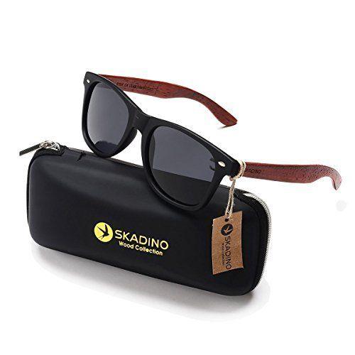 a99b5dc53a SKADINO Wood Sunglasses for Women Men with Polarized Lens Handmade Wooden  Arms-Grey Lens