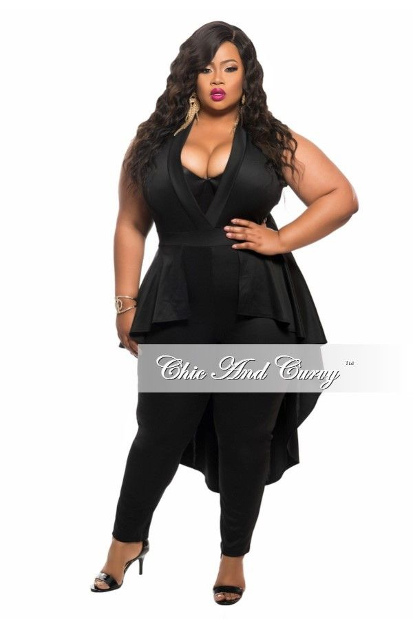 Plus Size Sleeveless Jumpsuit With Peplum Tail In Black Chic And Curvy