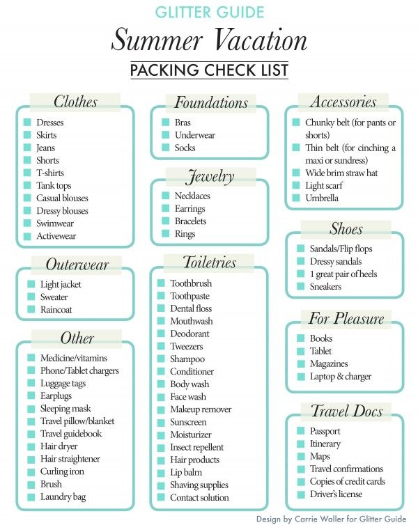 Summer Vacation Packing Checklist Summer vacations, Summer and Glitter