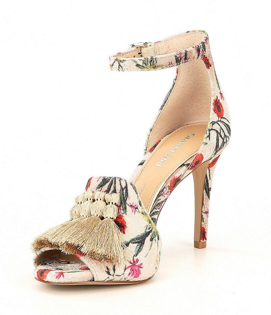 2f5bdbef93 Gianni Bini Marrako Floral Print Velvet Tassel Detail Sandals in ...