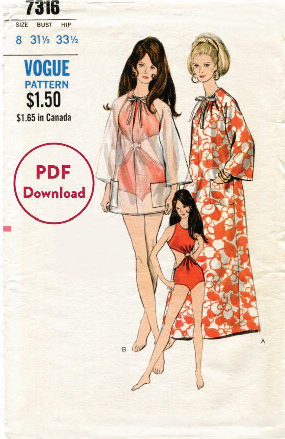 1960s 60s vintage sewing pattern swimsuit beachwear tunic one piece ...