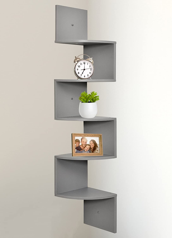 Greenco 5 Tier Wall Mount Corner Shelves Gray Finish In 2020 Wall Mounted Corner Shelves Corner Shelf Design Corner Shelves