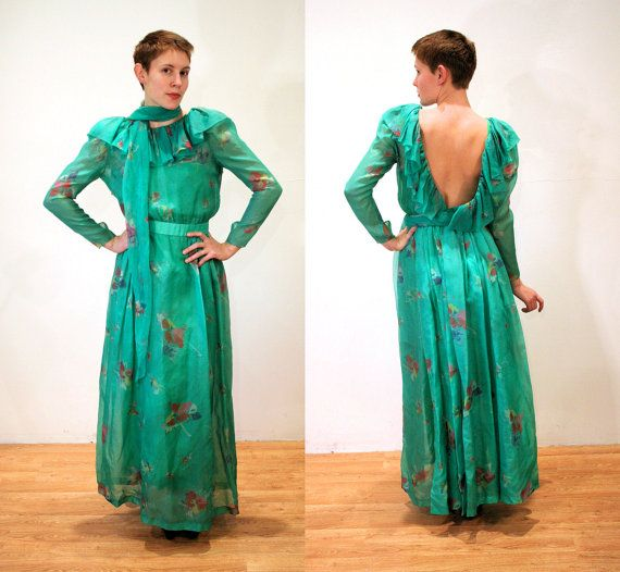 70s Christian DIOR Dress S Flowing Silk Chiffon by MorningGlorious