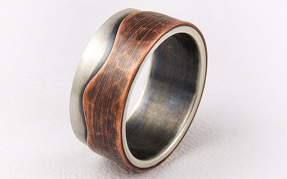 Elegant rustic engagement ring mens wedding ringsilver and copper