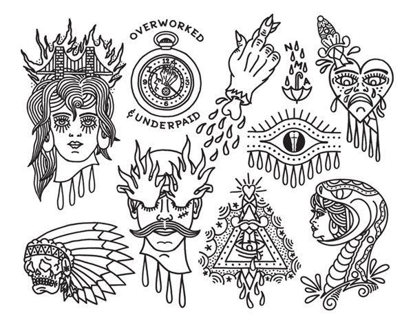 Line Drawing Tattoo Flash : Flash sheets tattoo sheet behance outline