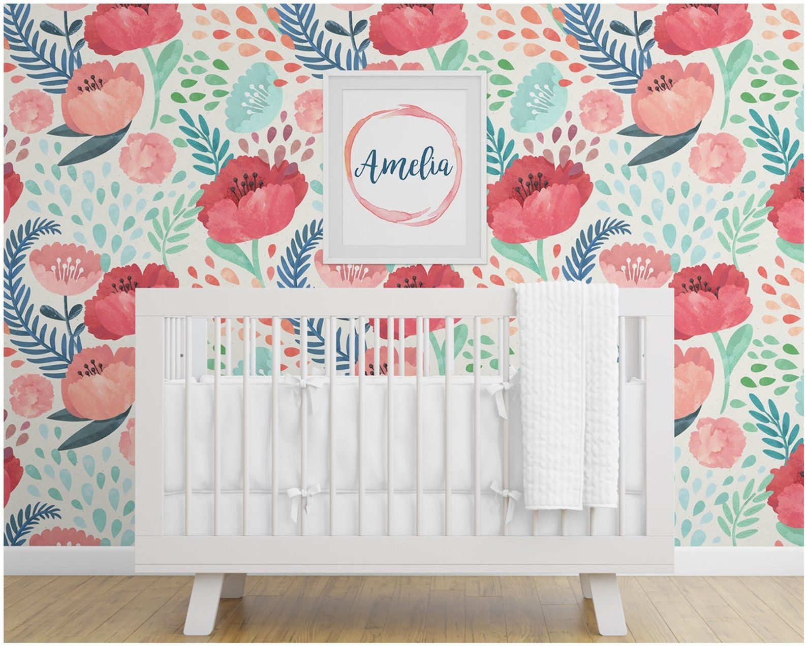 Nursery Wallpaper, Peel and Stick, Removable, Floral