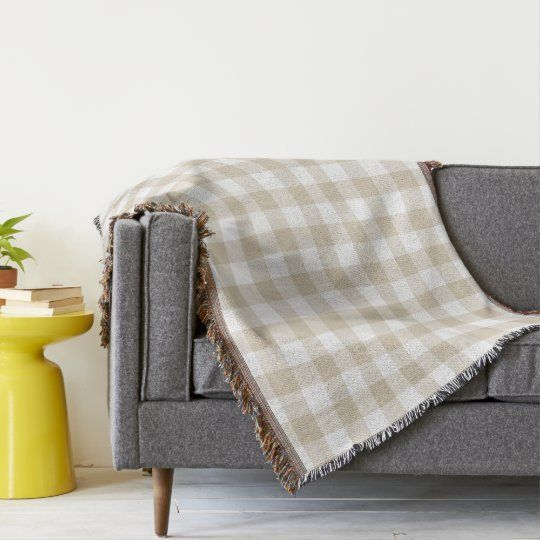 Neutral Beige Gingham Check Rustic Throw Blanket | This traditional rustic design features a gingham check pattern in neutral beige and white.