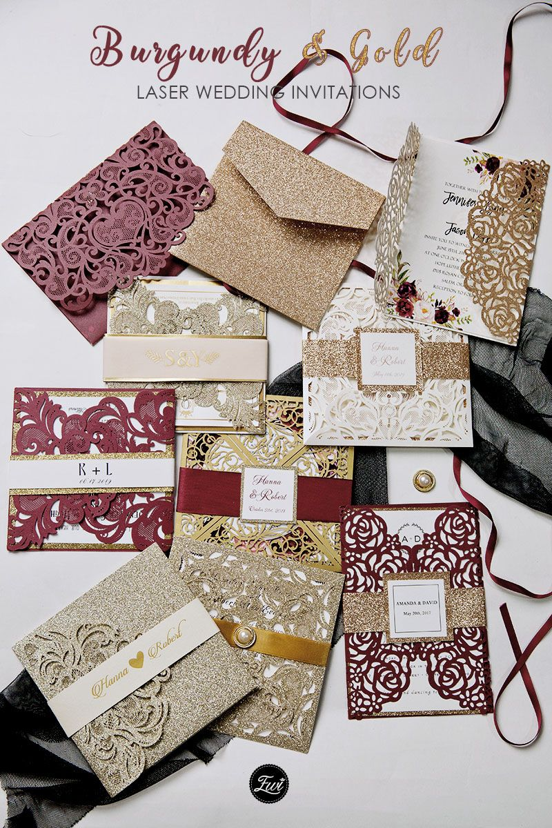 Affordable Red and Burgundy Wedding Invitations from EWI
