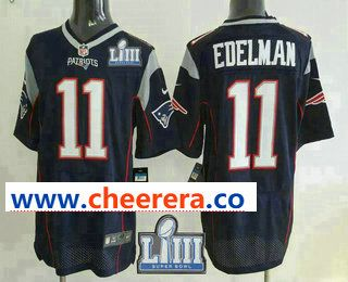 5bcc5323d Men s New England Patriots  11 Julian Edelman NEW Navy Blue 2019 Super Bowl  LIII Patch Team Color Stitched NFL Nike Elite Jersey