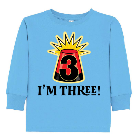 3 year old happy 3rd birthday police light Toddler Long Sleeve T