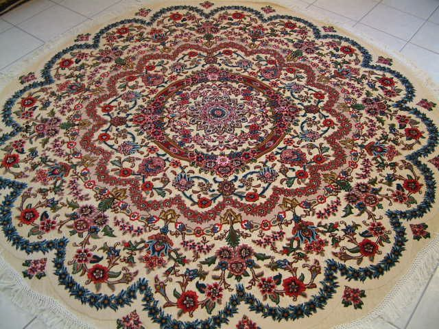 Round Metal Tabriz Persian Rug Carpet With A Foundation