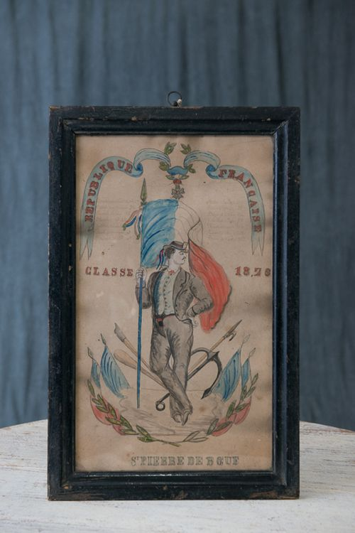 French Military Graduation Class Hand-Colored Drawing