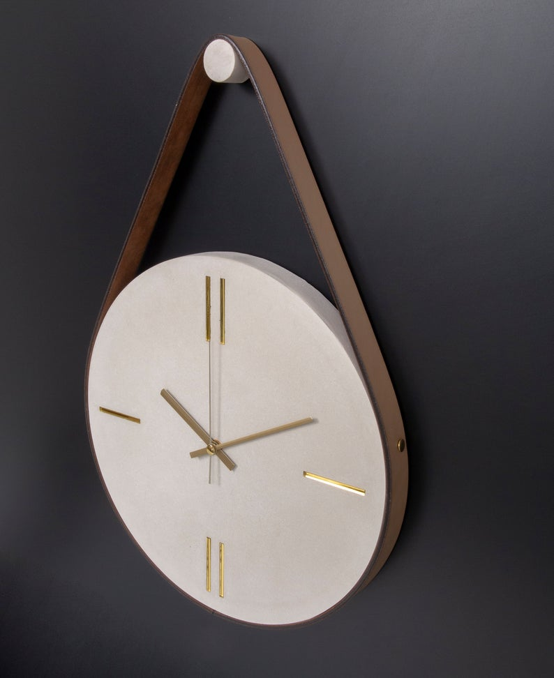 Concrete Wall Clock With Leather Stripe Modern Wall Clock Etsy In 2020 Wall Clock Contemporary Wall Clock Small Wall Clock
