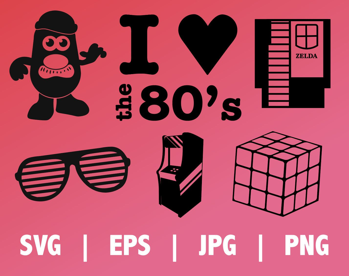 I LOVE THE 80's Digital Download retro 80s SVG icons