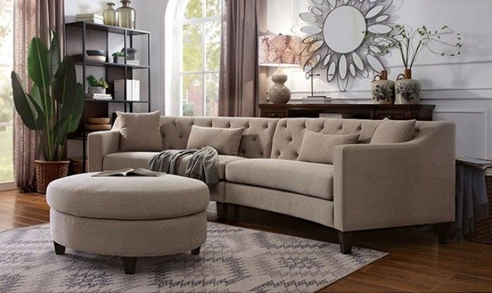 CM6370LG 2 pc sarin aretha taupe chenille fabric curved back sectional sofa is part of Curved Sectional Living Room - 4  x 33  x 19  H  Some assembly may be required