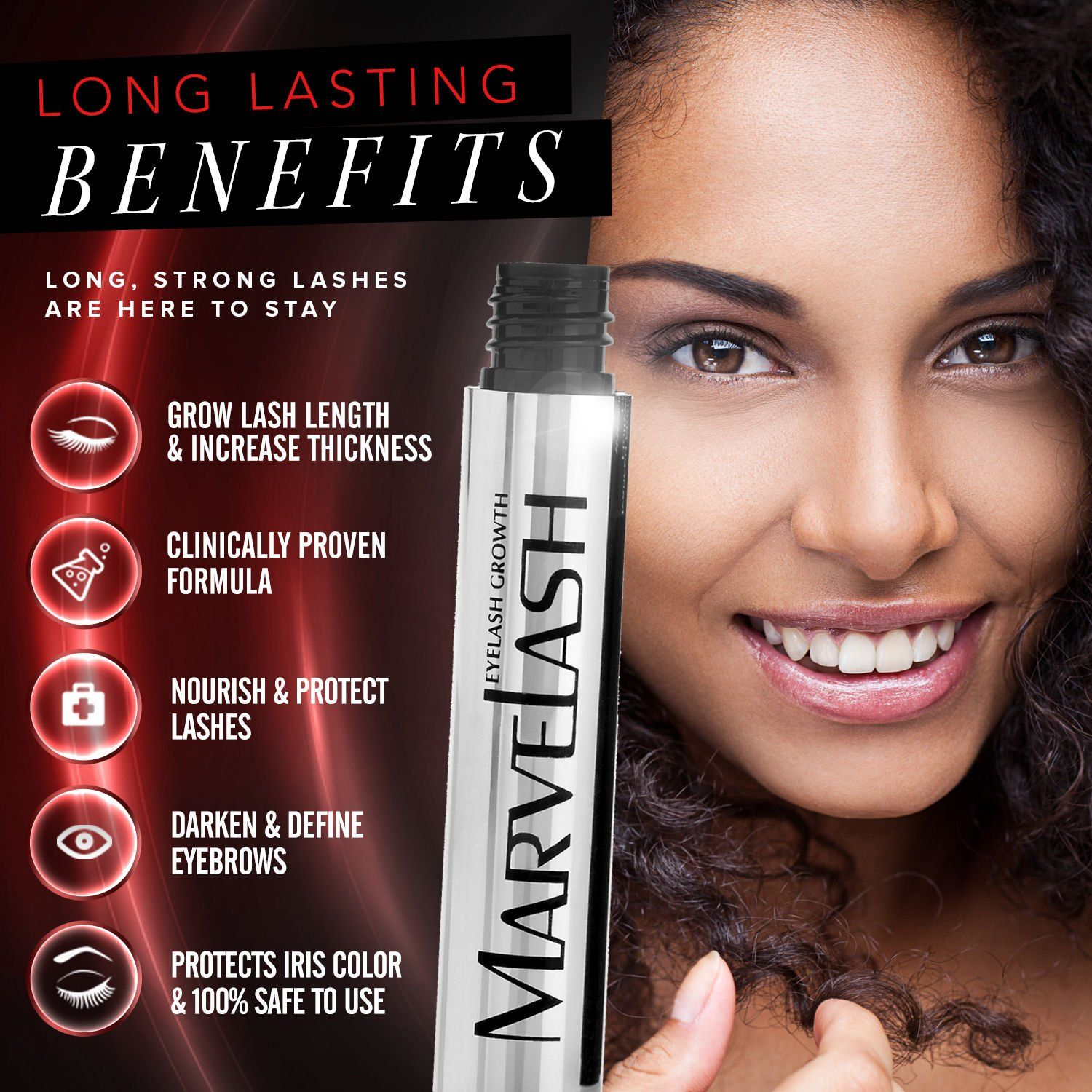 668d4f2441a Best Eyelash Growth Serum: MARVELASH Grows Eyelashes and Eyebrows Fast! For  Thicker Longer Stronger