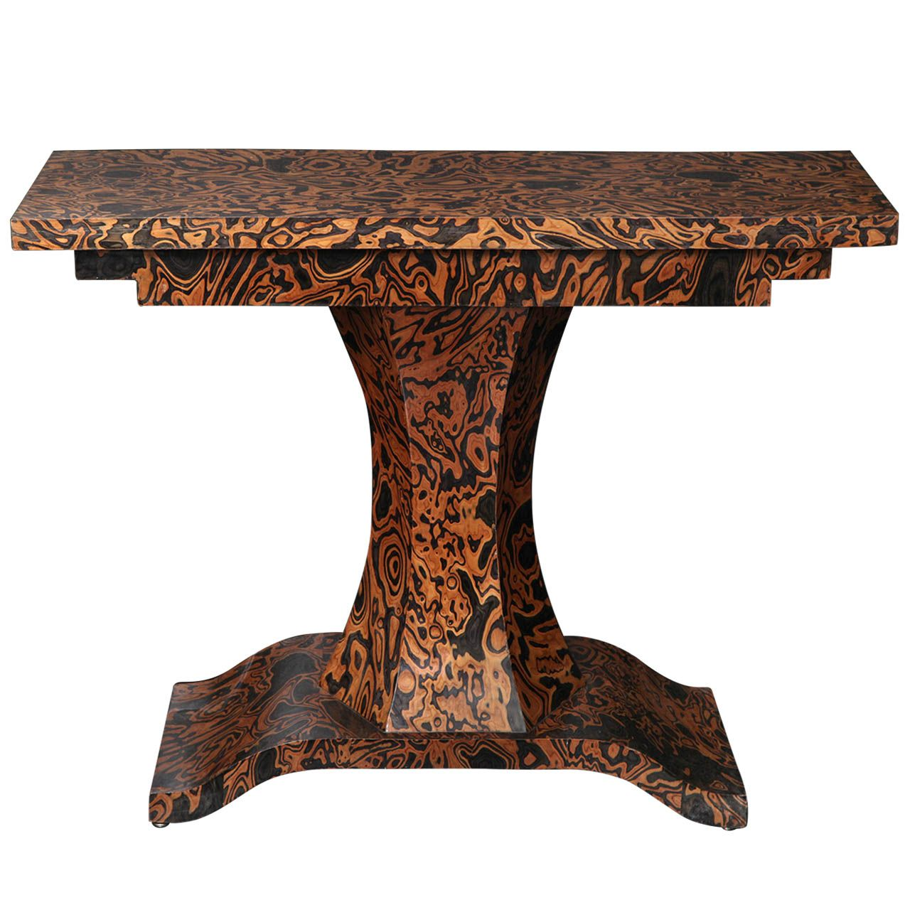 Th century zebra wood console from a unique collection of