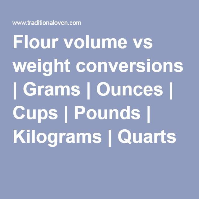 Flour Volume Vs Weight Conversions Grams Ounces Cups Pounds Kilograms Quarts