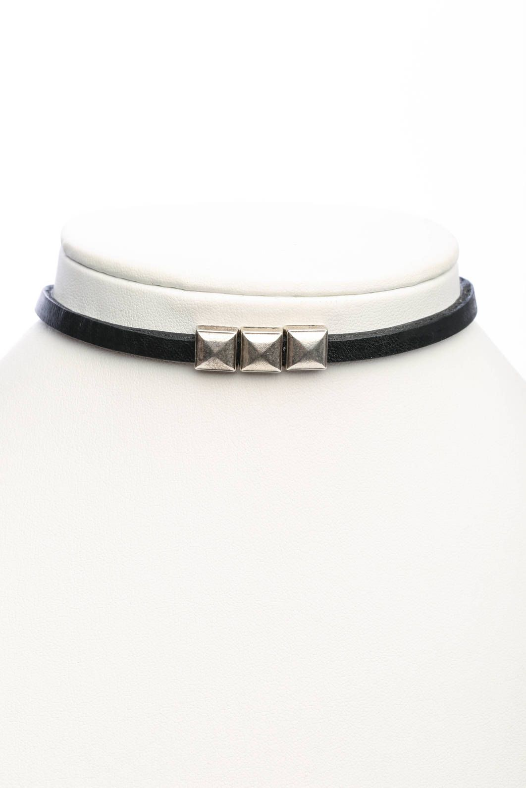 Brave Leather 3 Stud Choker Necklace in BLACK