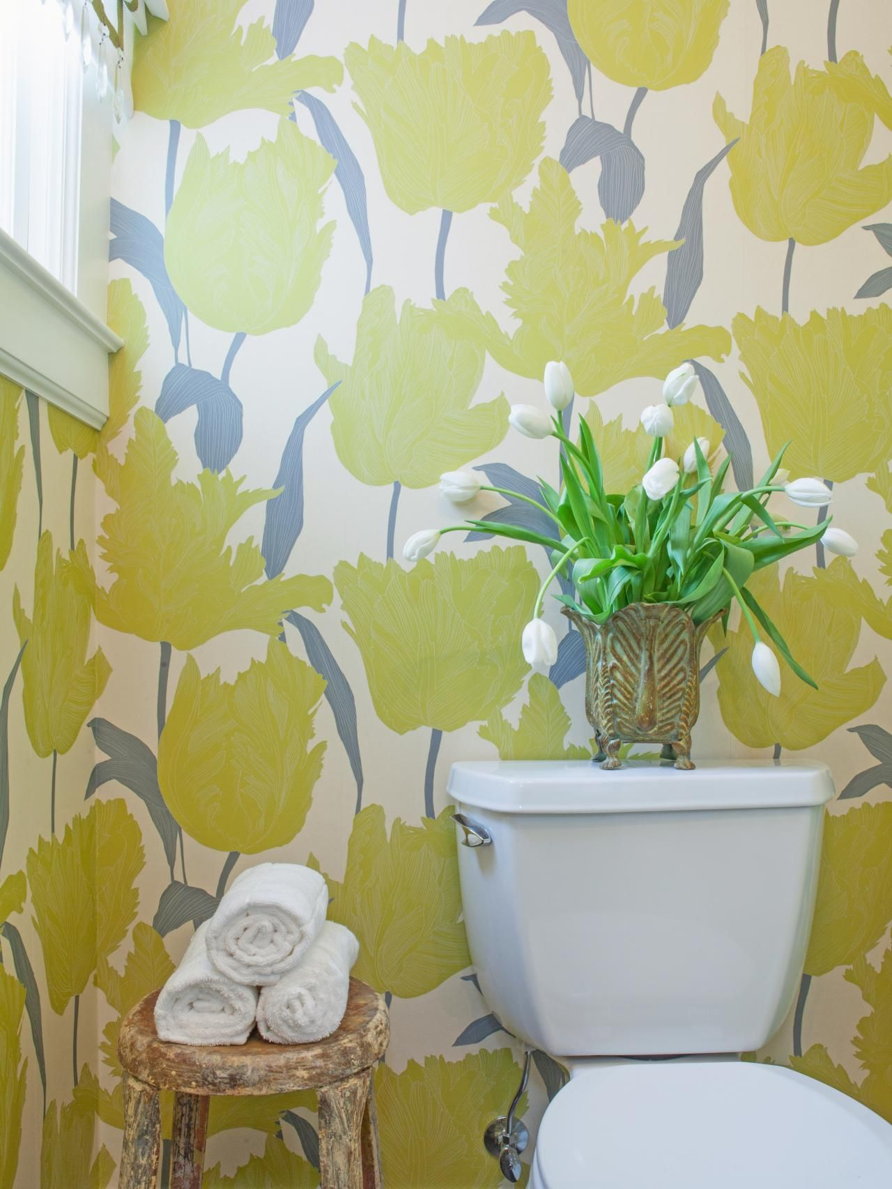 Bathroom With Yellow and Gray Floral Wallpaper Bathroom
