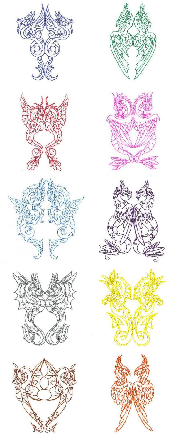 Legendary Dragons Embroidery Machine Design Details | at ...