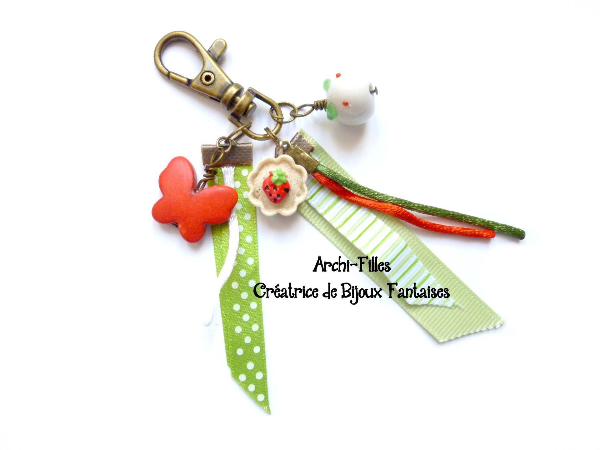 PorteclésBijou De Sac Rouge Vertpapillon Souris Cupcakeruban - Cordon porte clé