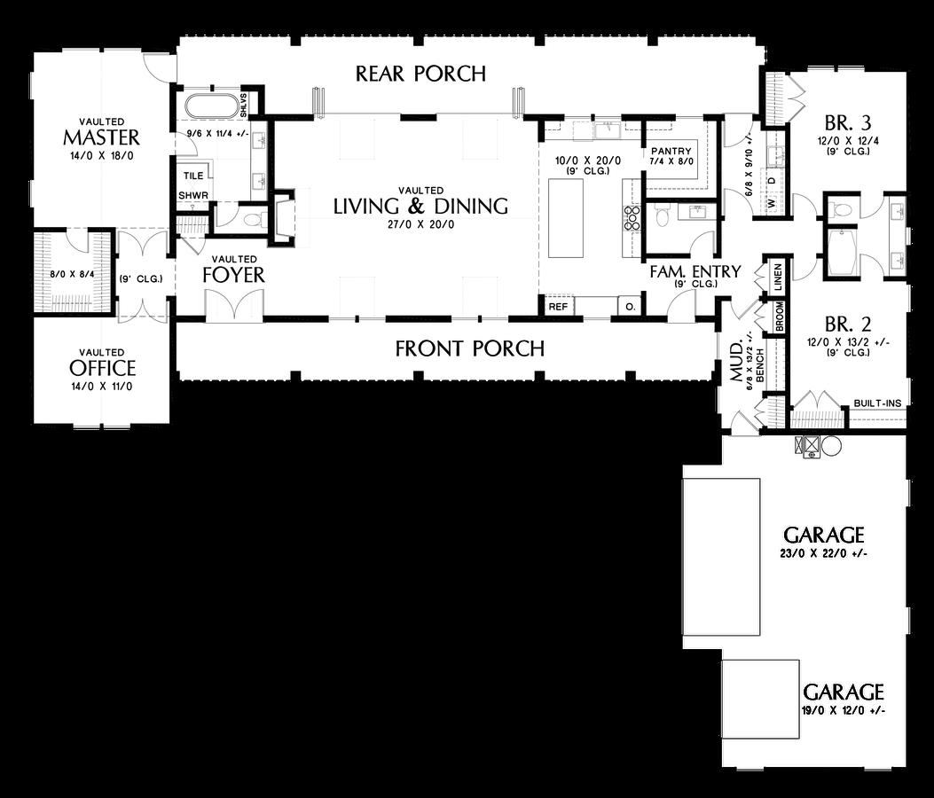 Image For Bernadino Gorgeous Modern Farm House Layout Main Floor Plan Contemporary House Plans Farmhouse Style House Plans House Layouts