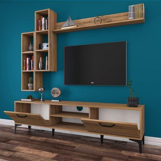 Rani A10 Duvar Raflı Kitaplıklı Tv ünitesi Duvara Monte Dolaplı Metal Ayaklı Tv Sehpası Ceviz M16 Dek Living Room Tv Wall Living Room Tv Stand Living Room Tv