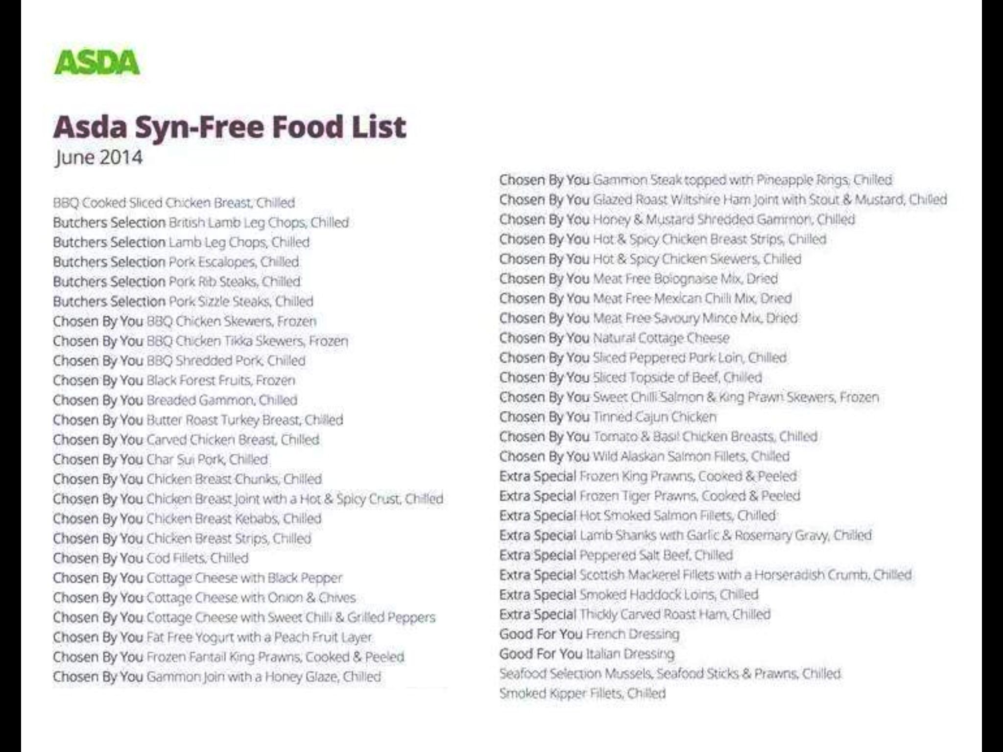 Slimming World Asda Syn Free Food List Slimming World