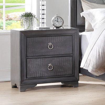Avalon Furniture Glam Style 2 Drawer Nightstand