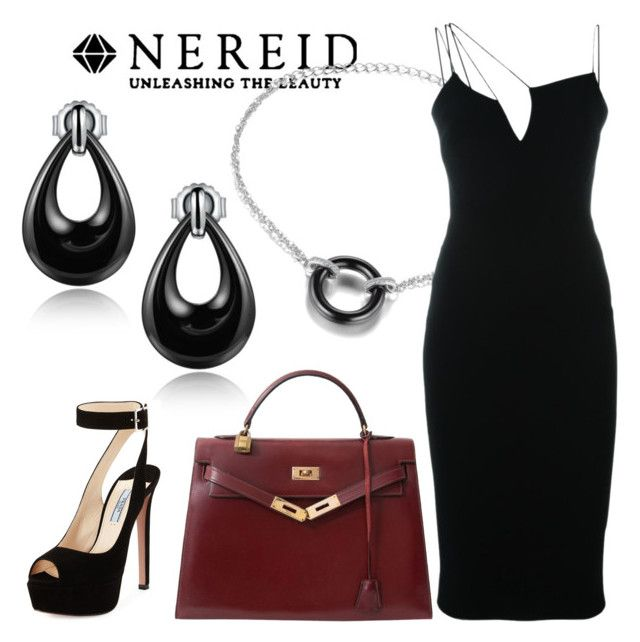 """Black Teardrop Ceramic Earrings"" by vivicarrie ❤ liked on Polyvore featuring Hermès, Victoria Beckham, Prada and contemporary"