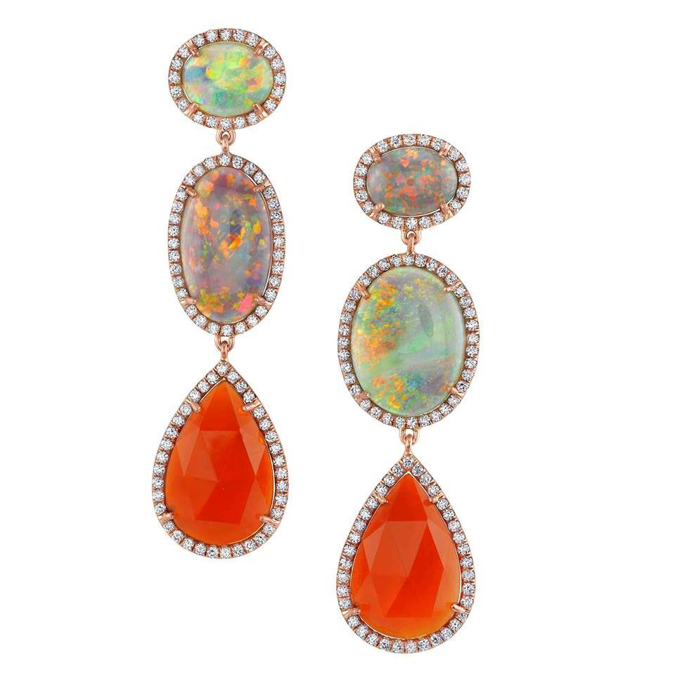 Irene Neuwirth Opal And Mexican Fire Opals Opalearrings Opaljewelry