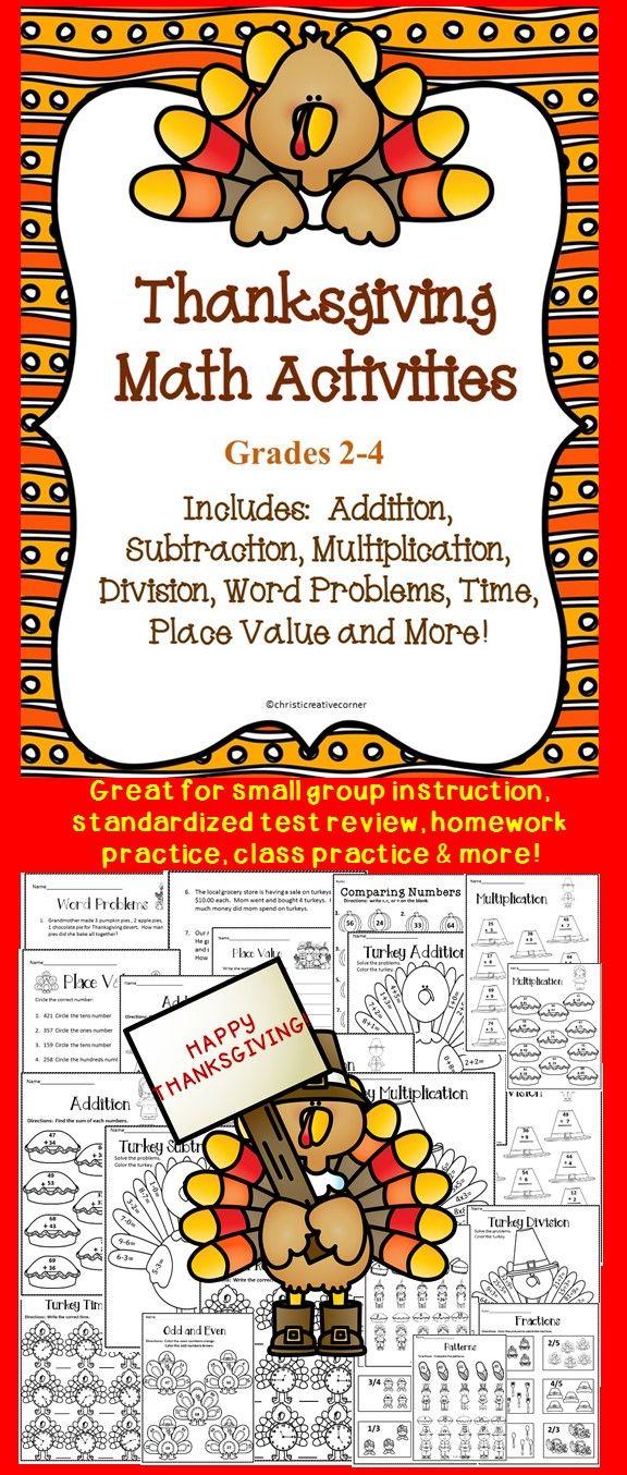 Thanksgiving Math Activities 2 4 Thanksgiving Math Activities Thanksgiving Math Math Activities Thanksgiving division worksheets 5th