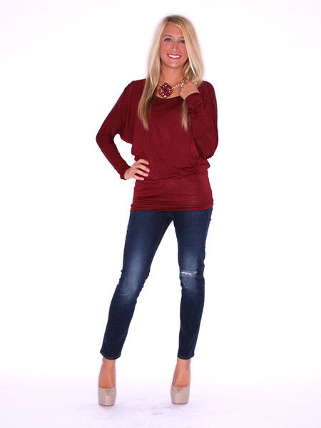 WRAP ME UP TUNIC WINE $ 24.00