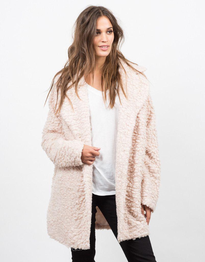 Shaggy Collared Coat - Pink Coat - Fur Coat – Outerwear – 2020AVE