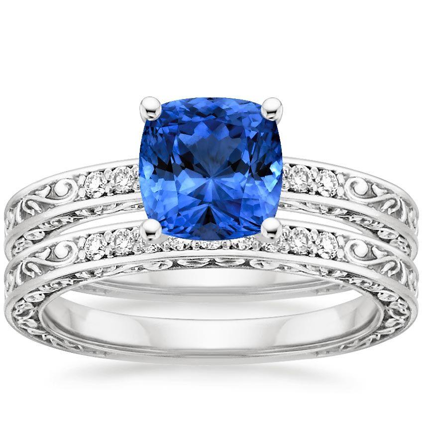 Blue Sapphire Delicate Antique Scroll Wedding Ring Set Platinum