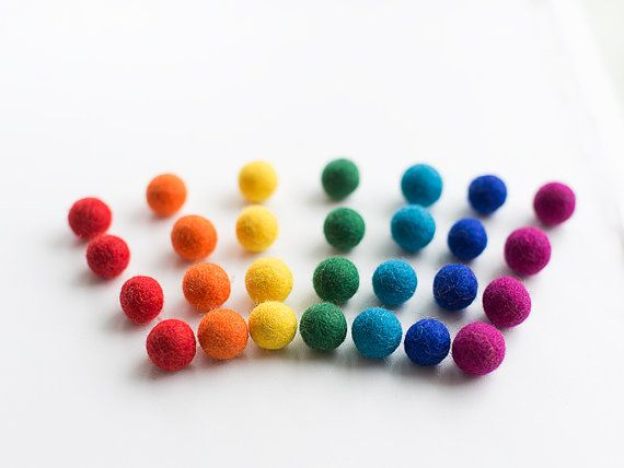 Felt balls blue shades mix