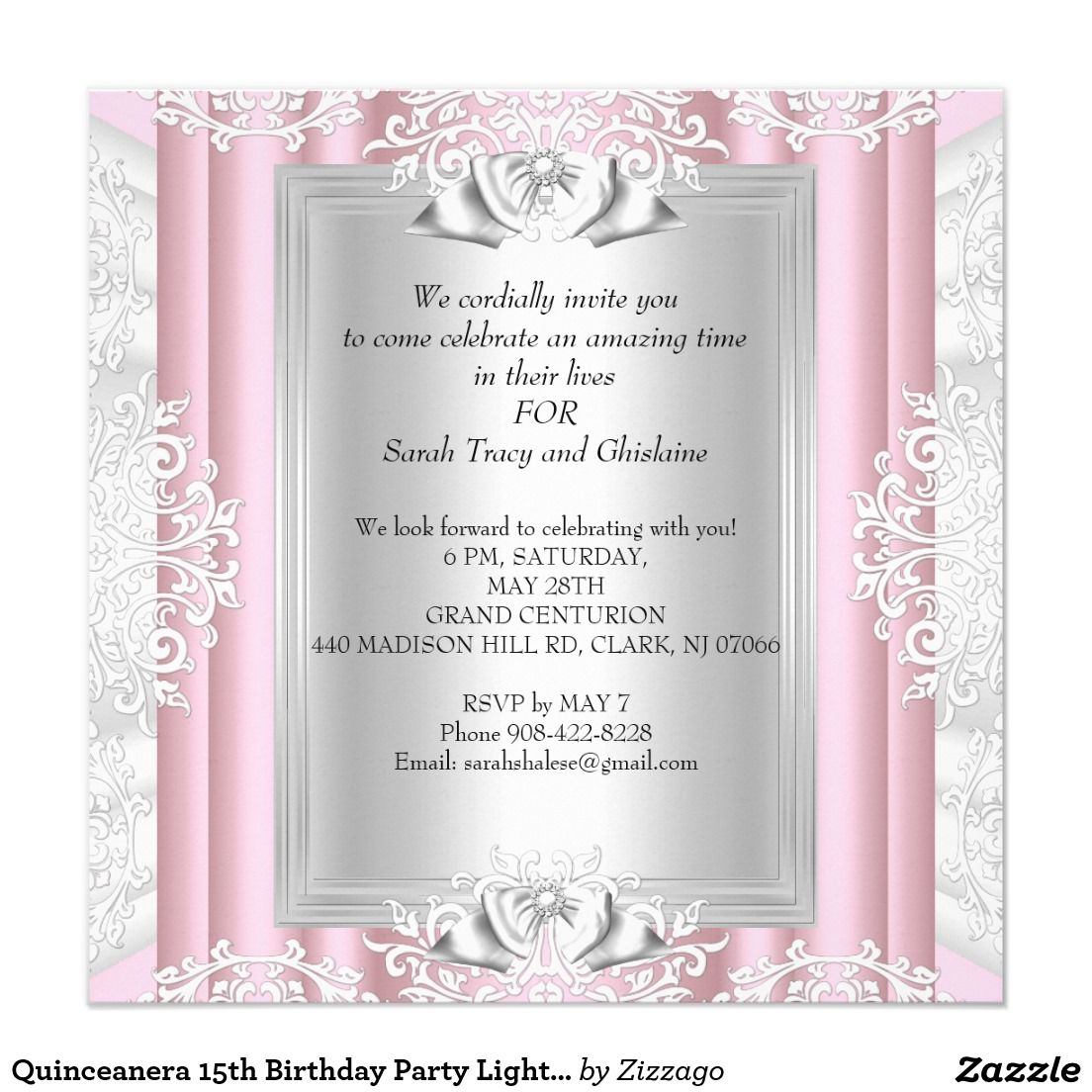 Quinceanera 15th Birthday Party Light Pink Shoes Card | Party ...