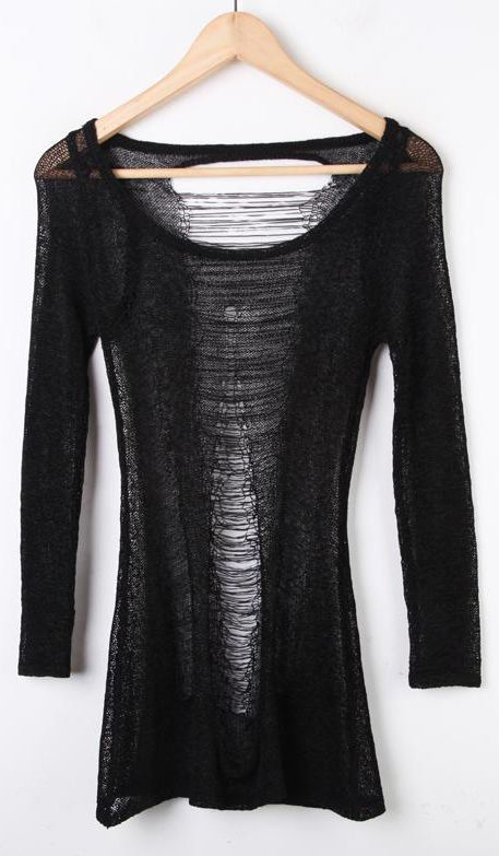 Shop Black Ripped Sheer Hollow Cotton Sweater online. Sheinside offers Black Ripped Sheer Hollow Cotton Sweater & more to fit your fashionable needs. Free Shipping Worldwide!