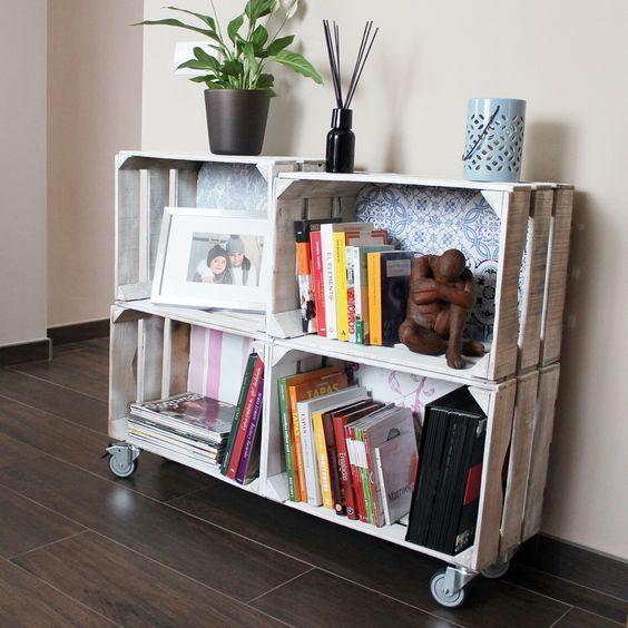 C mo decorar con cajas de madera muebles de - Como decorar cajas de madera de fruta ...