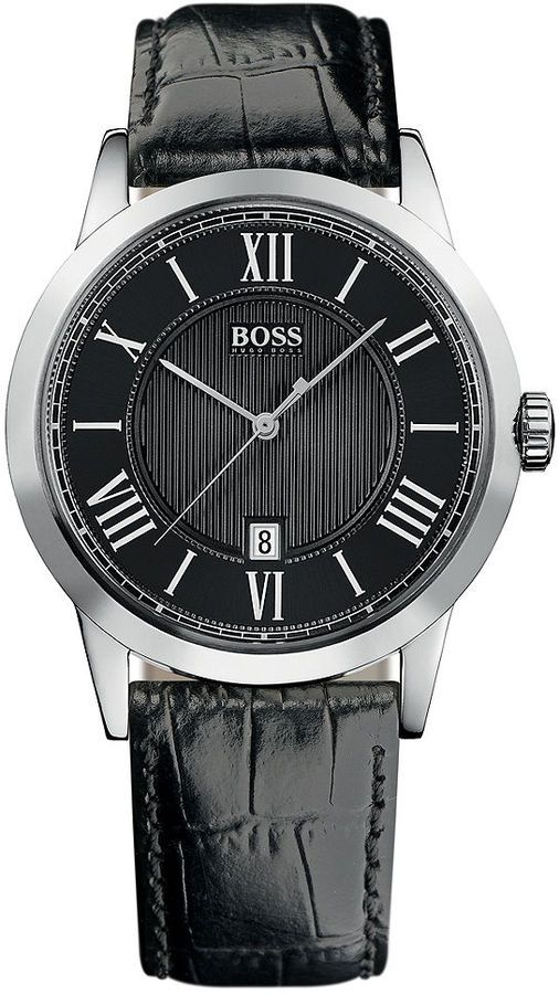 552a8187299f Hugo Boss Watch, Men's Black Croc Embossed Leather Strap 1512429 $175.00  thestylecure.com