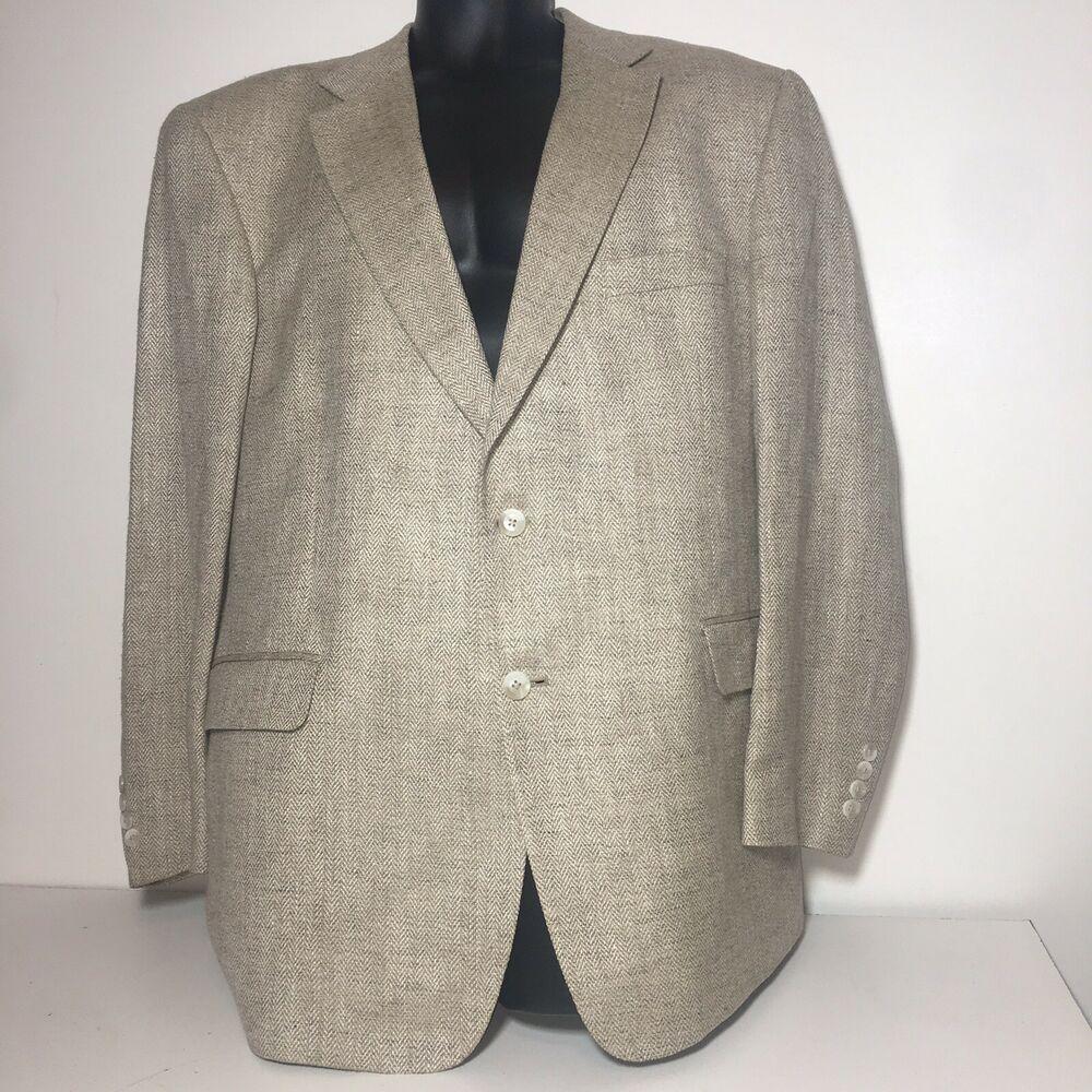 5fd154c4e413 Stafford Mens Blazer 100% Silk Sport Coat 2-Button Tan Jacket Size 46R  jacket