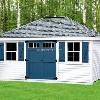 12 X 16 New England Vinyl Deluxe Hip Roof Shed In 2020 Shed Hip Roof Amish Sheds
