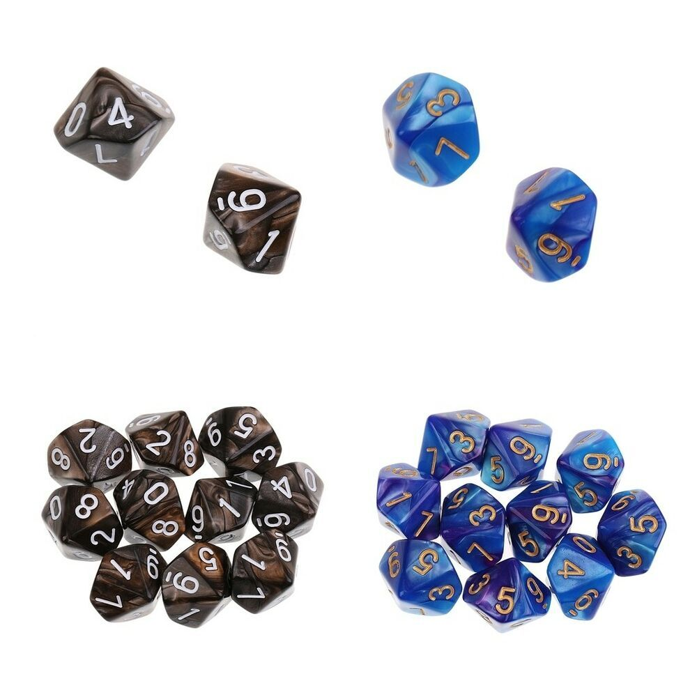 10pcs 18mm Acrylic Six Sided D6 Dice for RPG Role Playing Board Games Orange