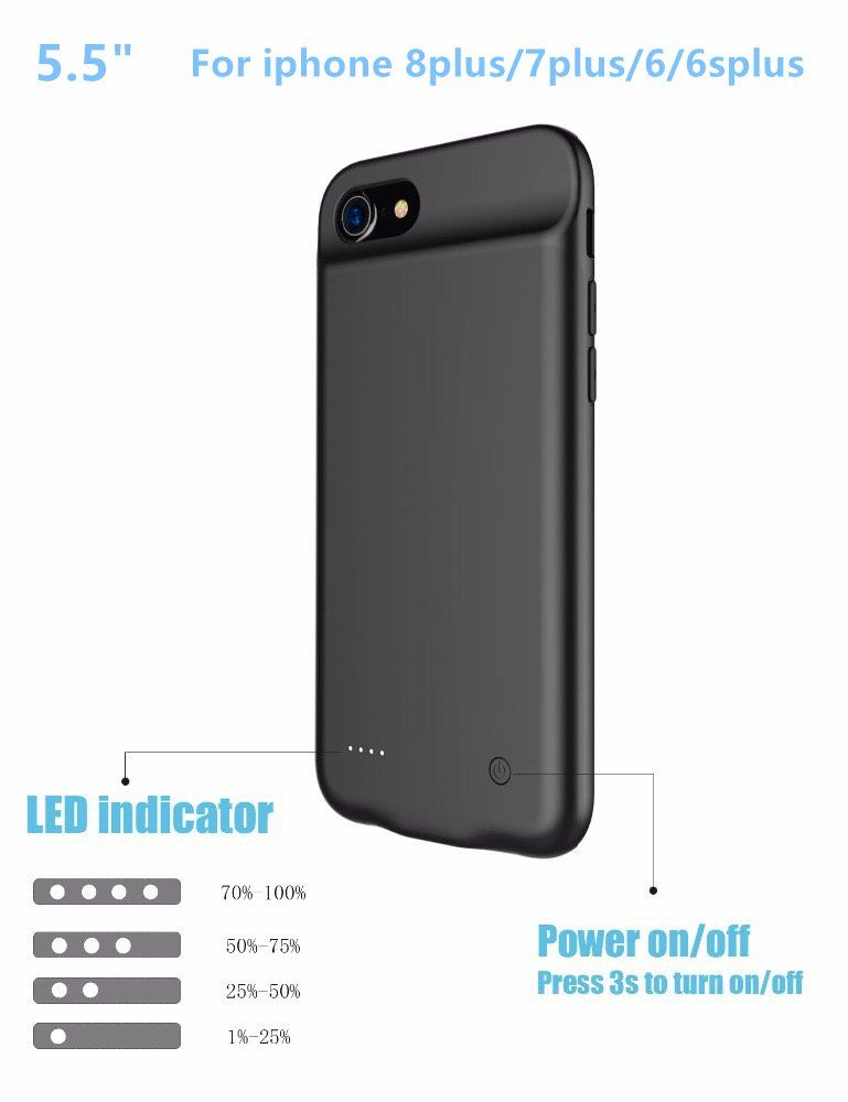 check out a2d07 f6c77 Iphone 8Plus/7Plus/6 Plus battery case Slim Rechargeable Protective ...