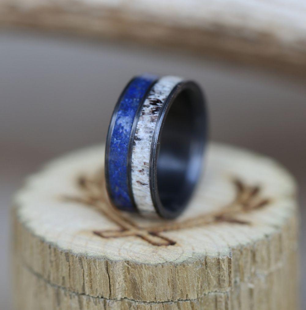 Blue Lapis Lazuli Inlaid Black Ceramic Men/'s Wedding Band with Personalized Engraving