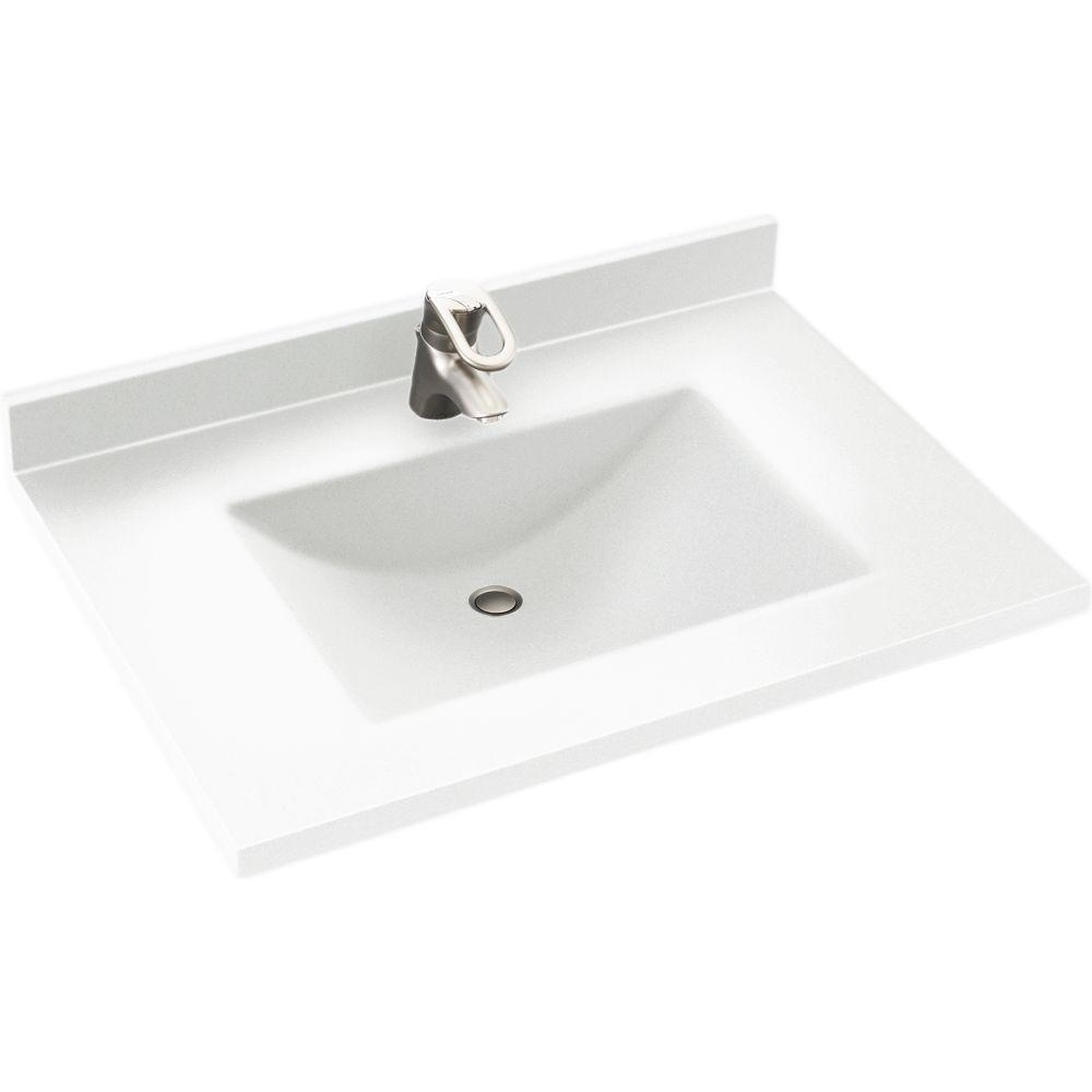 Swan Contour 31 In W X 22 In D Solid Surface Vanity Top With